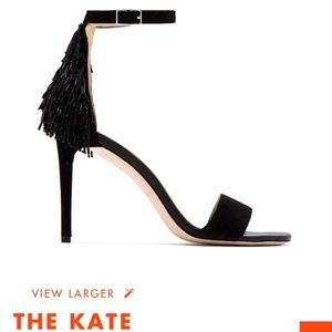 Katy Perry The Kate: black strappy sandal w/fringe